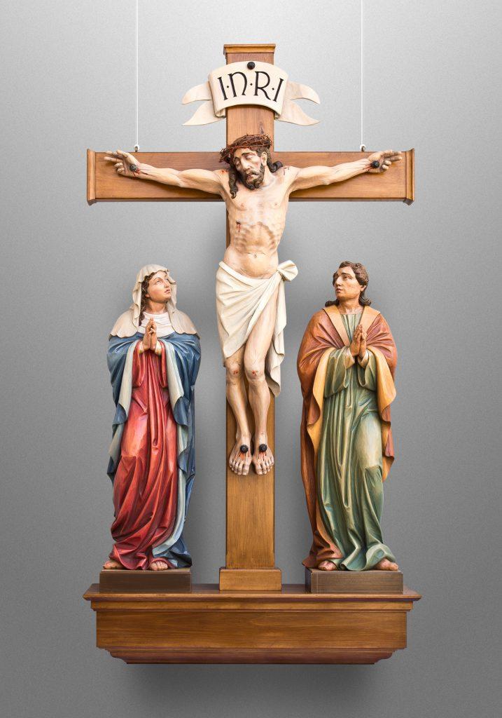 Crucifixion scene, St. John Roman Catholic Church in Benwood, West Virginia (USA). Liturgical Design: Gardiner Hall Associates