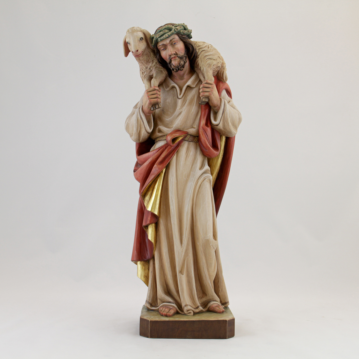 Christ the good shepherd albl oberammergau woodcarving