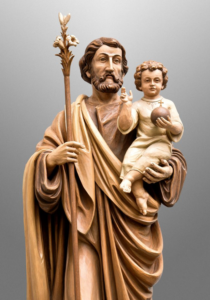 St. Joseph with infant Jesus, St. Olaf Catholic Church in Williamsburg, Virginia (USA). Liturgical Design: Sacred Spaces, LLC