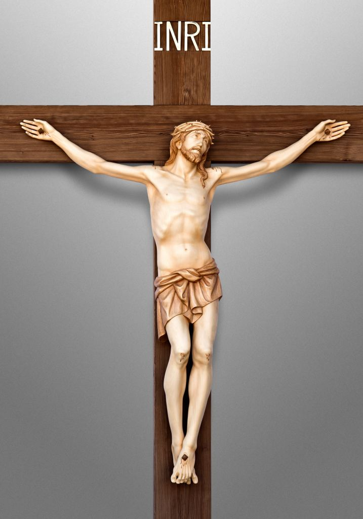 Crucifix, Saint John Vianney Catholic Church in Hacienda Heights, California (USA). Architect: Renzo Zecchetto Architects; Liturgical Consultant: Kenneth J. Griesemer & Associates