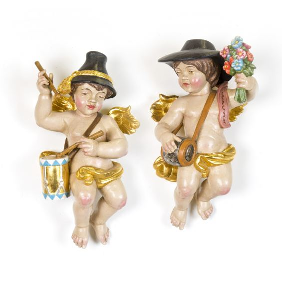 SET 3: BAVARIAN ANGELS WITH DRUMS AND WITH FLOWERS AND SCHNAPPS