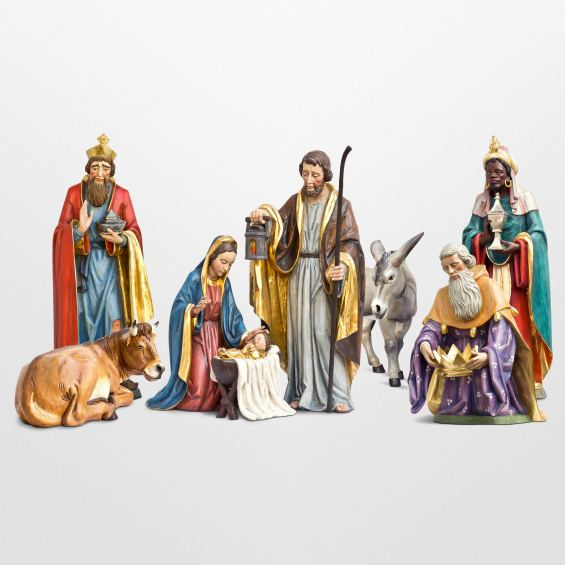 Large Nativity set with 8 figurines