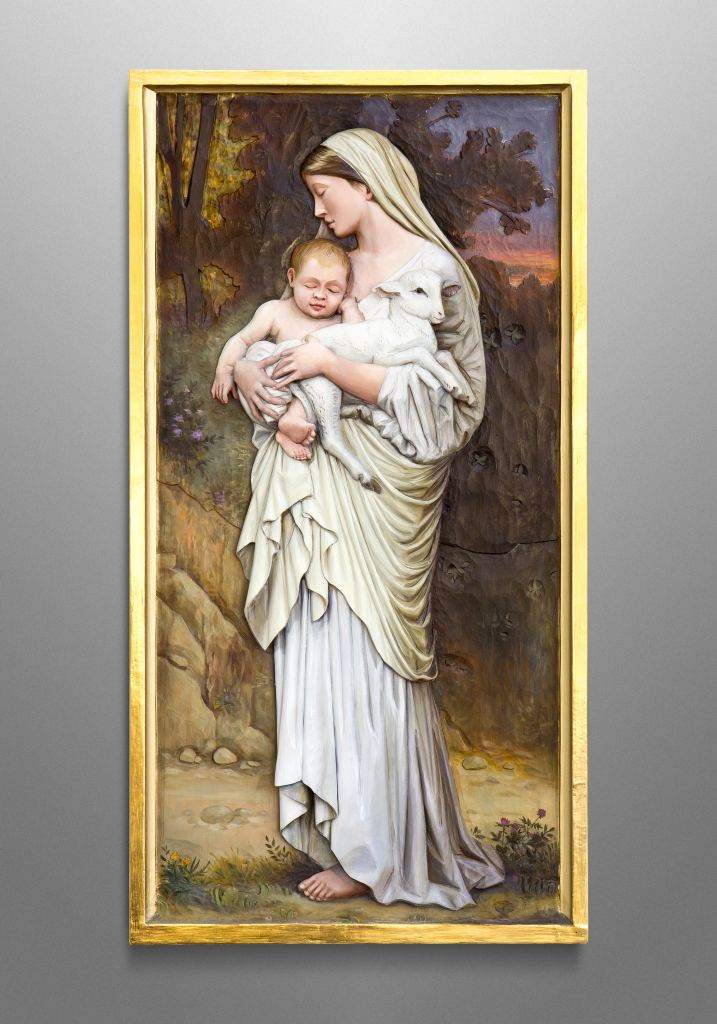 "St. Mary, inspired by the famous painting ""L'innocence"" by William-Adolphe Bouguereau"