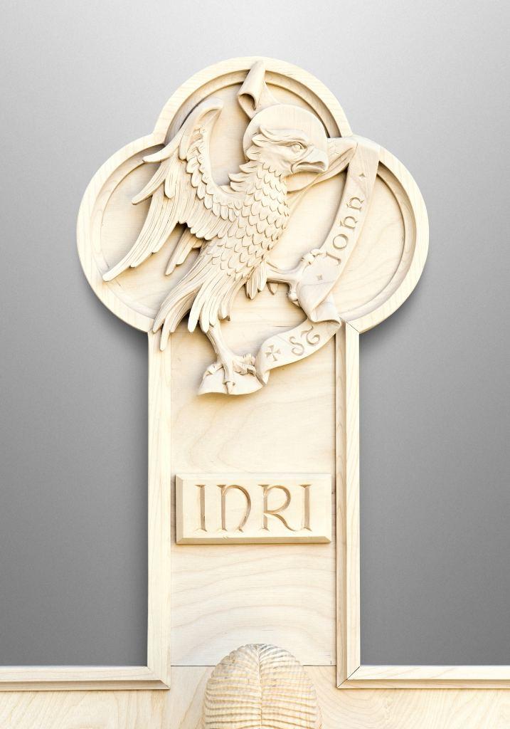 Spät-Romanisches Kruzifix mit den Symbolen der Vier Evangelisten