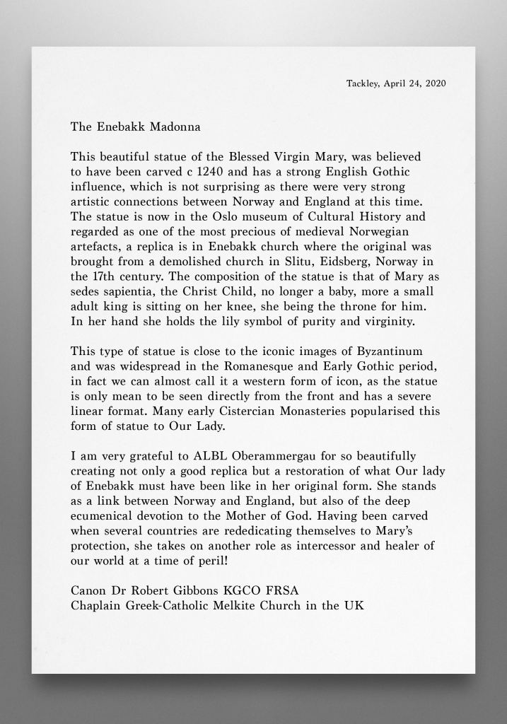 Madonna of Enebakk for a private Chapel in Oxford, United Kingdom