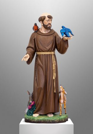Hand carved statue of St. Francis for a private Chapel